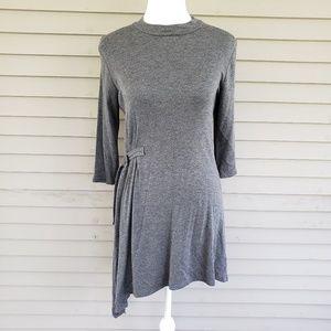 Monteau Gray Side Cinch Long Sleeve Dress